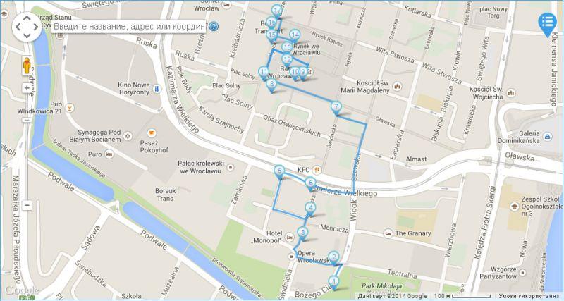 Wroclaw dwarfs Route planed on IGotoWorld.com